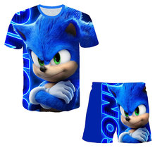 Sonic T Shirt Children Clothing Sets Tops+Pants Sets Girls Tshirts Kids Shorts Sport Suit Baby Boys T-shirt 4 5 6 7 8 9-14 Years