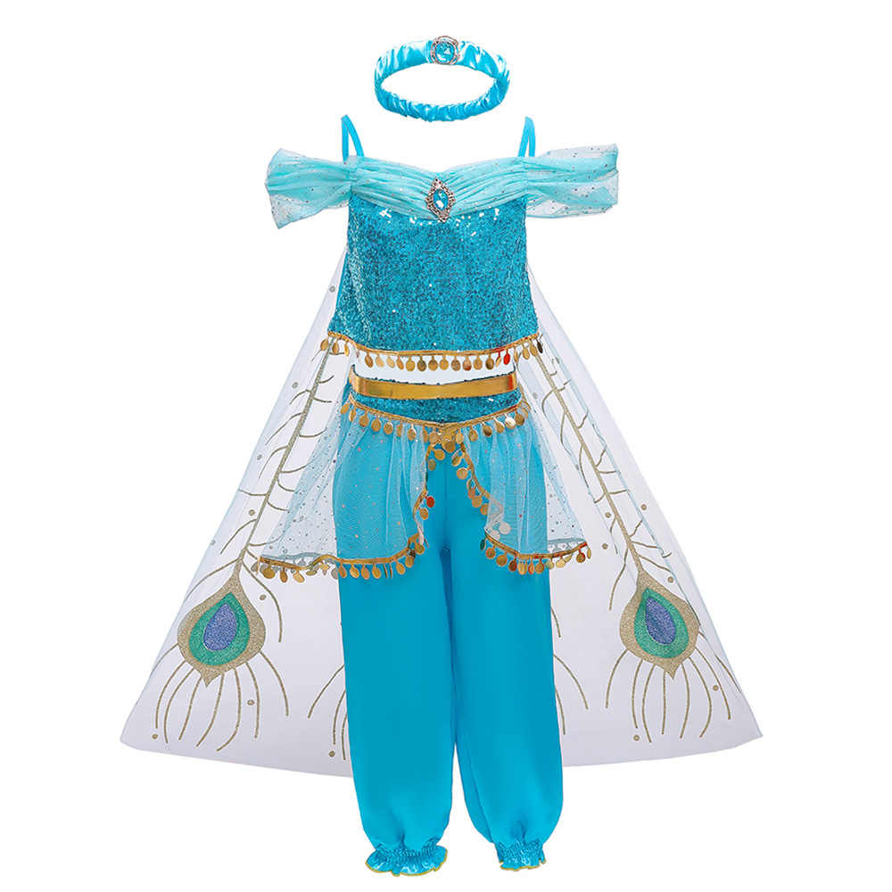 Праздничные платья принцессы Золушки для маленьких девочек от 3 до 10 лет хлопковая Лампа Алладина Принцесса Жасмин платье принцессы Авроры