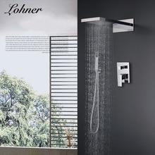 цена на Lohner New Sale Chrome Brass Polish Bath Shower Mixer Faucet Set Single Handle Bathroom Rainfall Rain Shower System