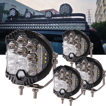 4pcs Super bright 7 inch Round LED Work Light Spot Off Road Driving Fog Lamp for Jeep Truck Car ATV SUV ATV Boat