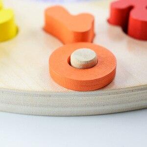 Image 3 - مرحلة ما قبل المدرسة الطفل ألعاب مونتيسوري التعليم المبكر وسائل تعليمية ألعاب الرياضيات ساعة رقمية لعبة خشبية العد شكل هندسي مطابقة