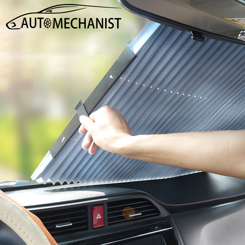 Universal Car Front Window Sun Shade Covers Auto Dashboard Windscreen Cover Retractable Windshield Cover Accessories For BMW E46