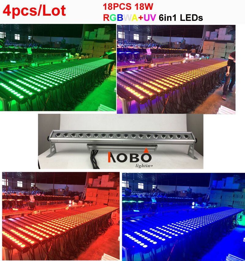 4pcs/lot 18x18W <font><b>RGBWA</b></font>+UV 6in1 Outdoor <font><b>led</b></font> <font><b>bar</b></font> Wall Washer christmas lights outdoor dmx stage lighting effect image