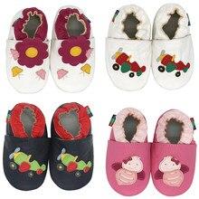 Carozoo infantil sapatos da criança chinelos de couro macio do bebê meninos primeiros-caminhantes sapatos da menina das crianças