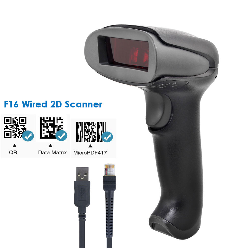 NETUM RD-2013 Portable USB Wired Laser 1D Bar Code Reader and NETUM F18W Wireless 2D QR Barcode Scanner for POS Inventory title=