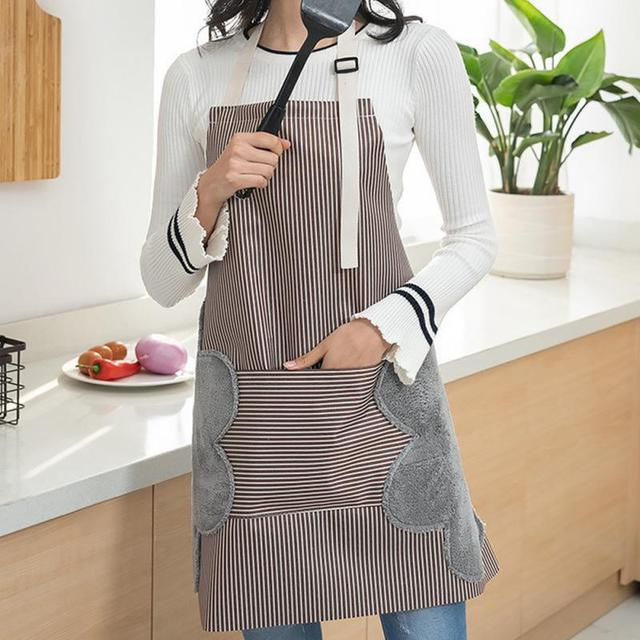 Apron For Women Waterproof Apron Cotton Linen Wasy To Clean Home Tools Kitchen Baking Accessories Cooking Delantal Cocina Home 4