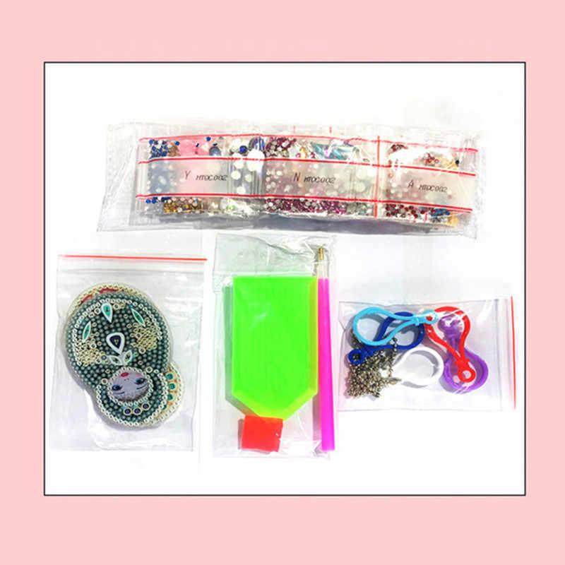 1-6 قطعة Keychain بها بنفسك الماس المفاتيح الخاصة على شكل كامل الماس اللوحة كيرينغ سلاسل المفاتيح عبر غرزة التطريز النساء حقيبة مفتاح سلسلة