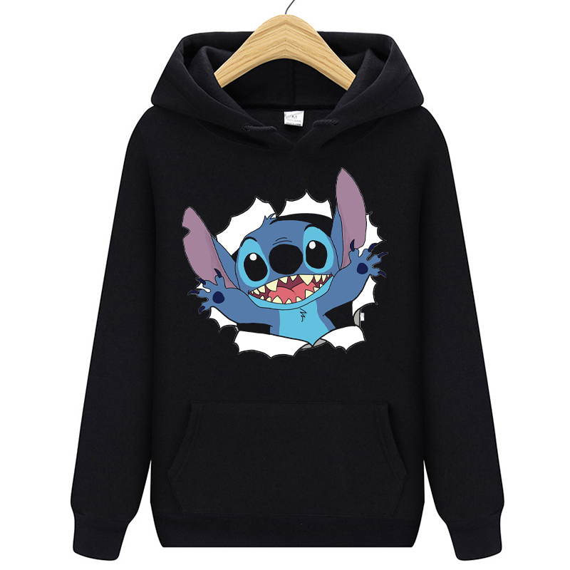 Black&Blue&Grey Pullovers Lovely Kawaii LILO STITCH  Hoodie Pullovers  Long Sleeves Harajuku Casual Women's Hooded Sweatshirt