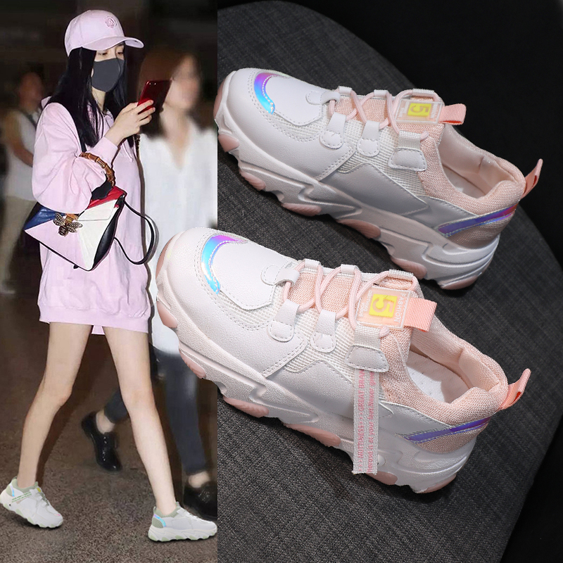 Women Chunky Sneakers High Street Thick Bottom Ladies Platform Shoes Fashion White Women Casual Shoes Vulcanized Shoes 35-40