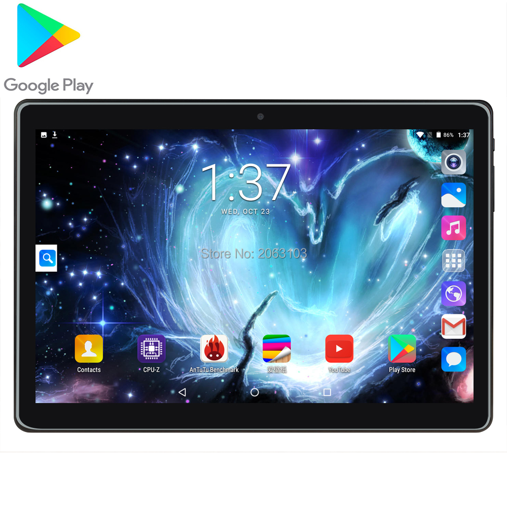 Free Shipping 10 Inch Tablet Android 7.0 Quad Core 2GB RAM 32GB ROM 8MP 1280*800 IPS 2.5D Glass Screen GPS Tablets 10.1 Gifts