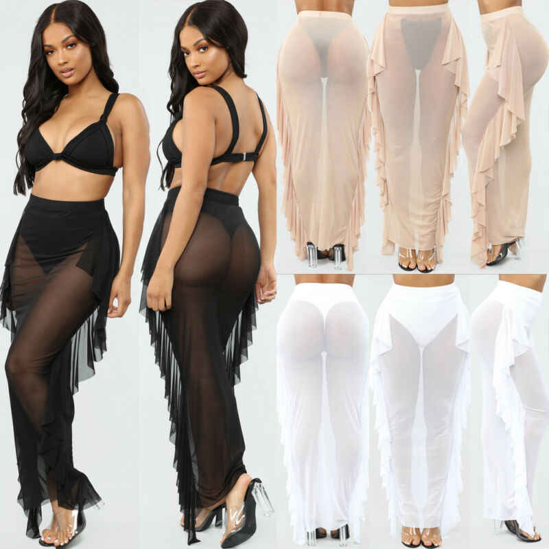 Mujeres Sexy Bodycon faldas volantes ver a través de malla larga Maxi falda verano playa natación alta Fishnet falda Swimdress S-2XL