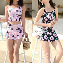 Yfashion Women Summer Fashion Chic Printing Beach Swimsuit Set yfashion women fashion stripes printing dress briefs swimwear