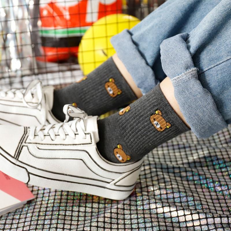 1 Pair of Cute cartoon women's pure Cotton socks cute and Fashionable bear socks five Colors of pure Cotton Female socks