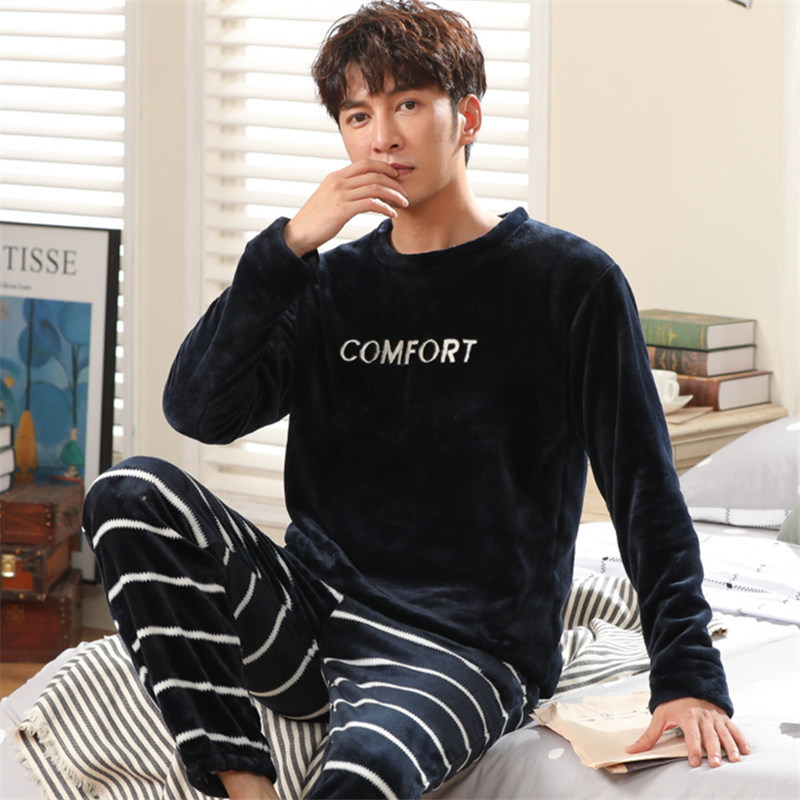 Autumn And Winter Coral Pile Pajama Men's Suit With Long Sleeves, Round Neck And Heavy Flannel Oversize Pullover