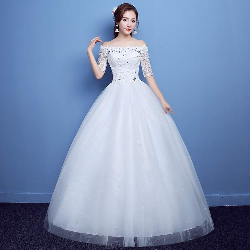 2019 New Fat Lady Ribbon Middle Sleeve Off Shoulder Dress Wedding Dress Big Red White Knot Plus Big Size H79
