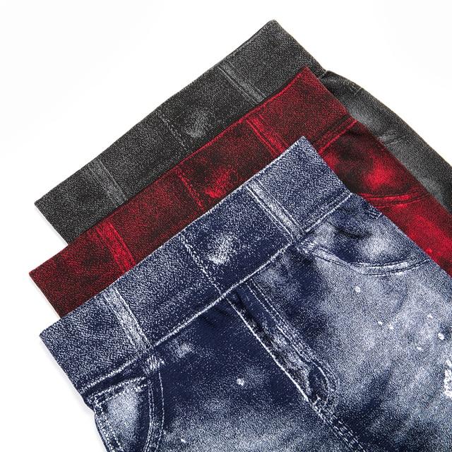 Women Imitation Jeans Leggings Slim Elastic Pencil Pants Casual Tights 2019 New Items for Autumn Fashion Hole Vintage Denim Pant 10