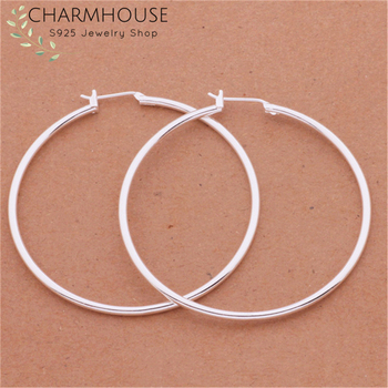 Charmhouse 925 Sterling Silver Earrings For Women Round Circle Hoop Earing Brincos Femme Pendientes Statement Jewelry Wholesale