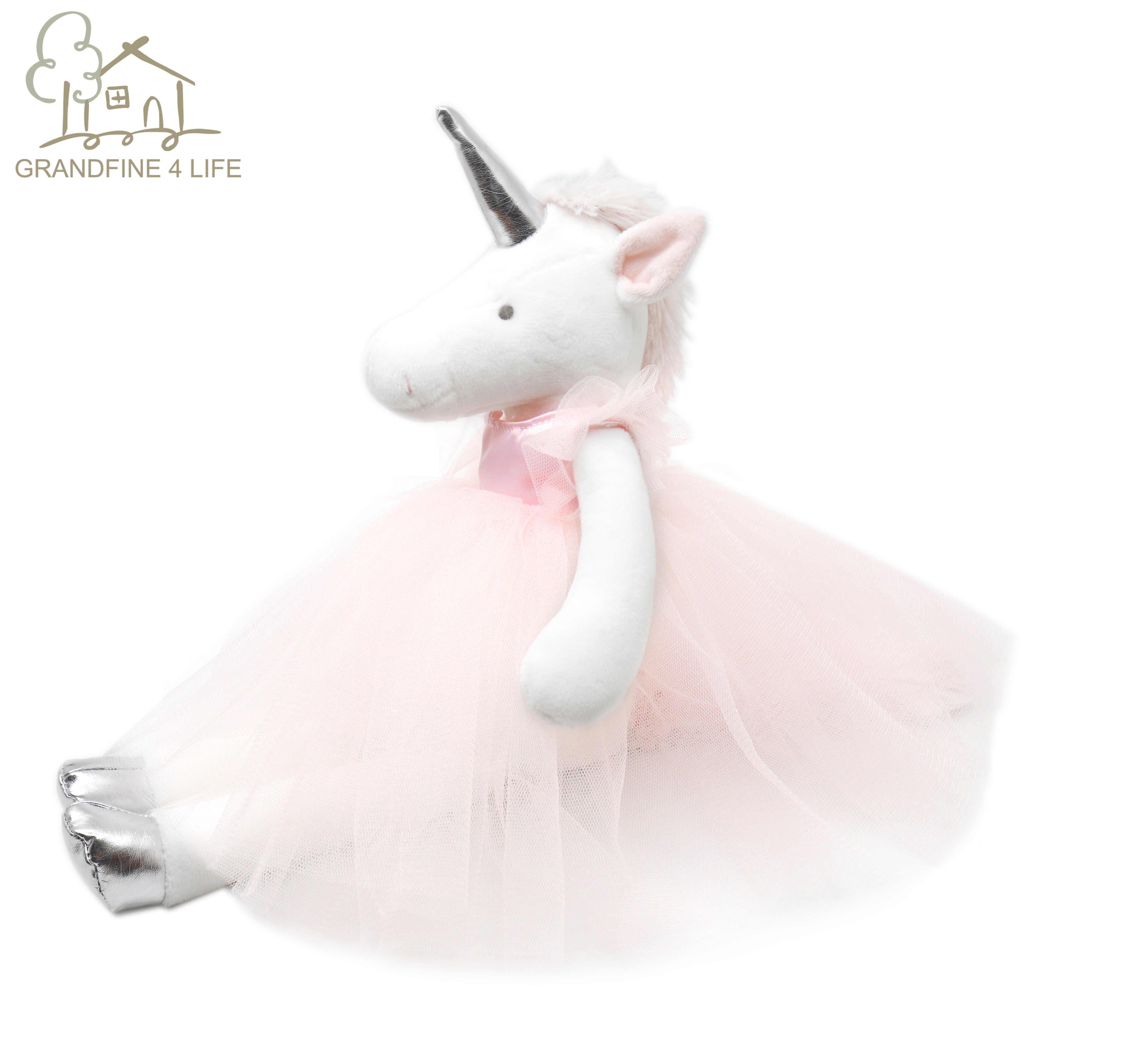 Lüks Mogo balerin Unicorn peluş doldurulmuş bebek çıkarılabilir Tutu elbise çocuk günü hediye pembe prenses Unicorn kız bebek