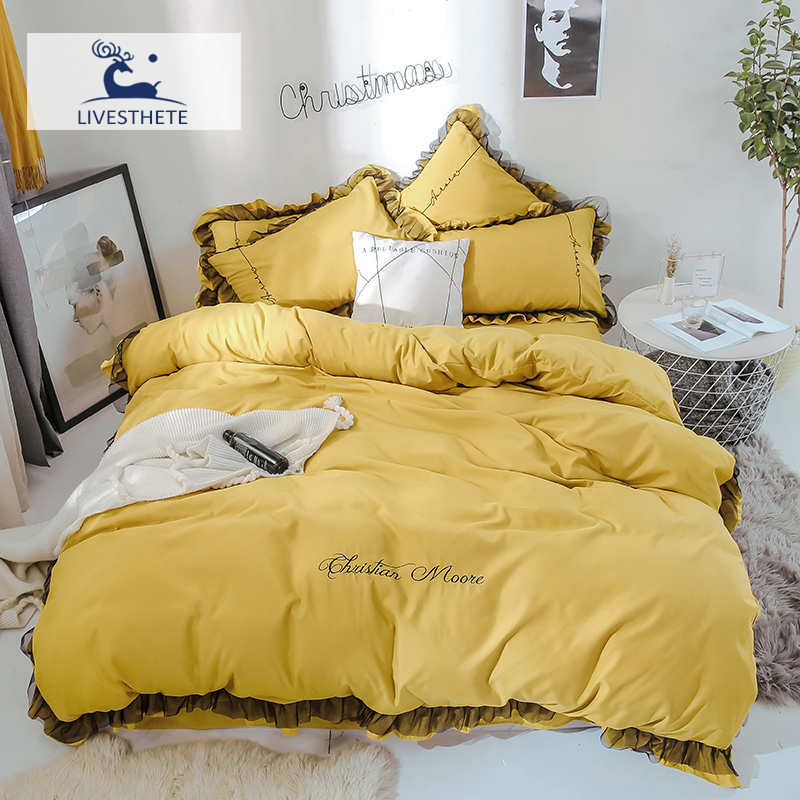 Liv-Esthete Luxury Beauty Yellow 100% Cotton Bedding Set Lace Printed High Quality Duvet Cover Flat Sheet Queen King Girl Gift