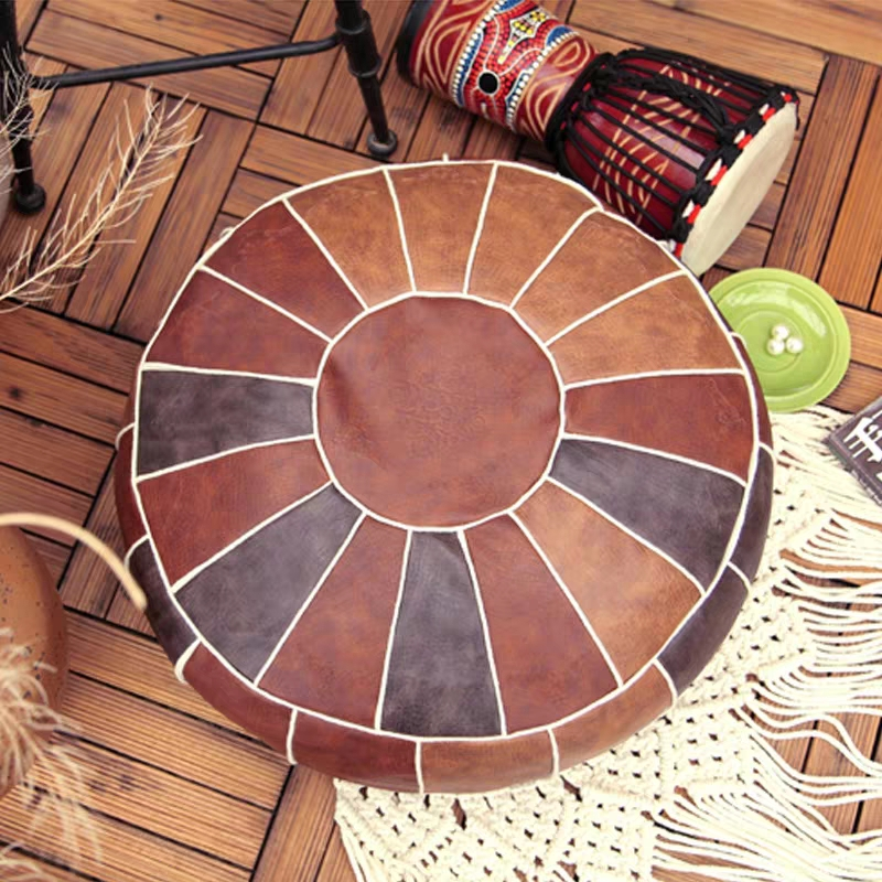 Moroccan PU Leather Pouf Embroider Craft Hassock Ottoman Footstool Round  Large 50*50*25cm  Artificial Leather Unstuffed Cushion 3