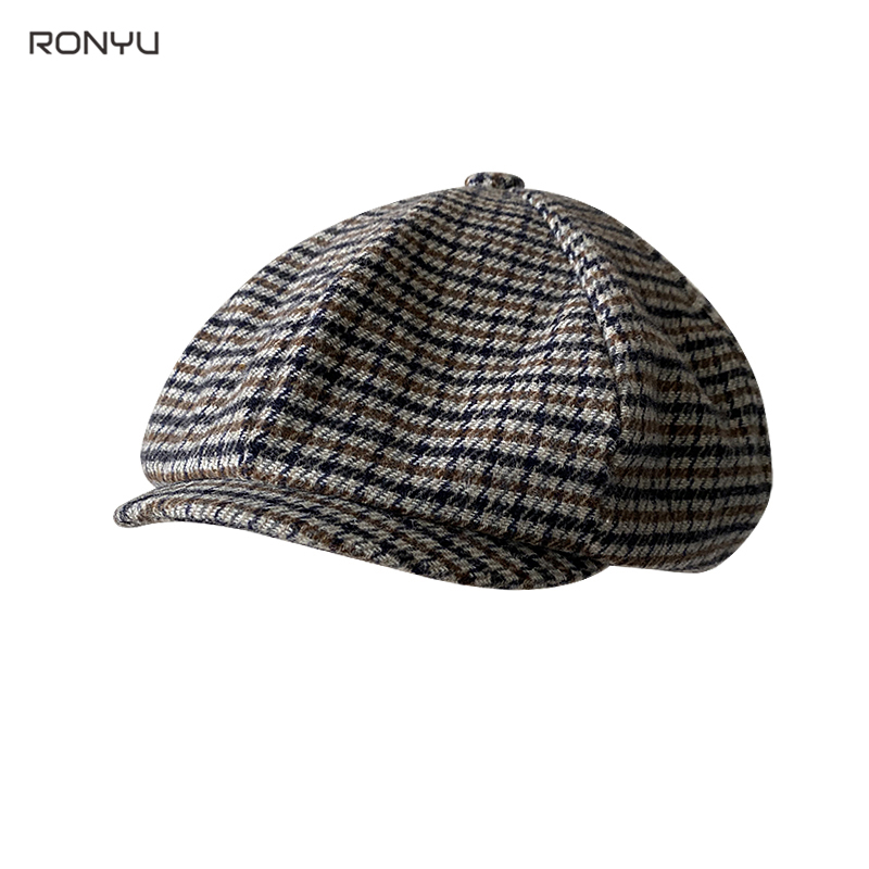 2021 New Retro Men's Plaid Newsboy Hat Autumn Winter Men's Berets Wool Blend Women England Gatsby Hat Men Driver Flat Cap BJM28