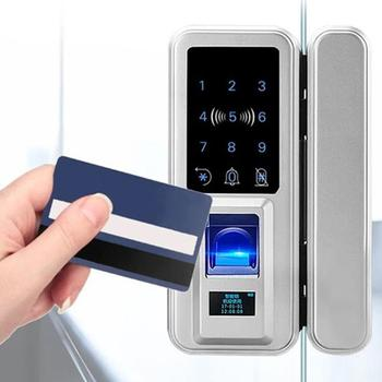 Smart Door Lock Fingerprint Electronic Digital Gate Opener Electric Biometric finger print security Glass Password Card