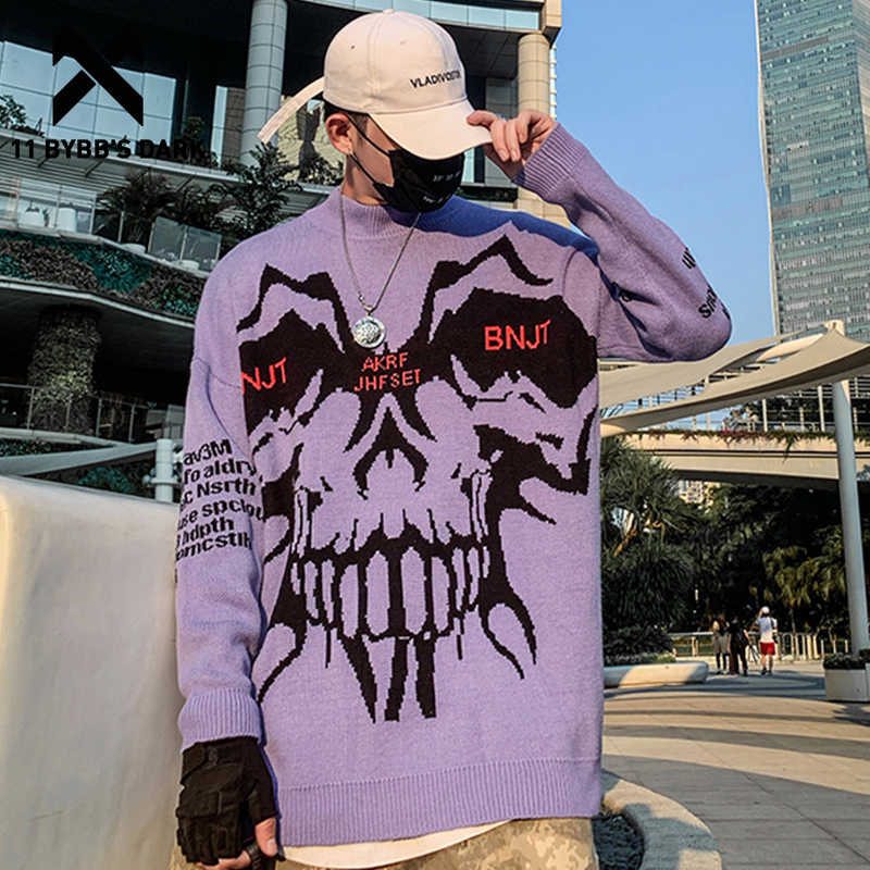 11 BYBB'S DARK Monster Knitted Men Sweater Autumn Winter Harajuku Streetwear Hip Hop Ripped Male Casual Cotton Pullover Outwear