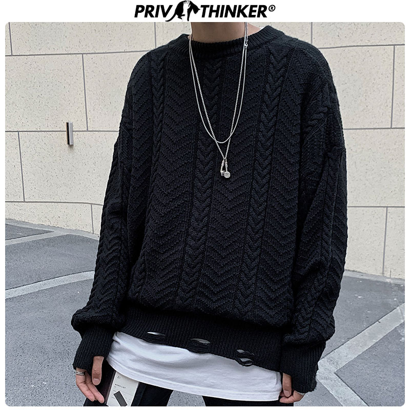 Privathinker Men O-Neck Fashion Streetwear Sweater Men's 2019 Loose Knitted Pullovers Tops Male Harajuku Solid Autumn Sweaters