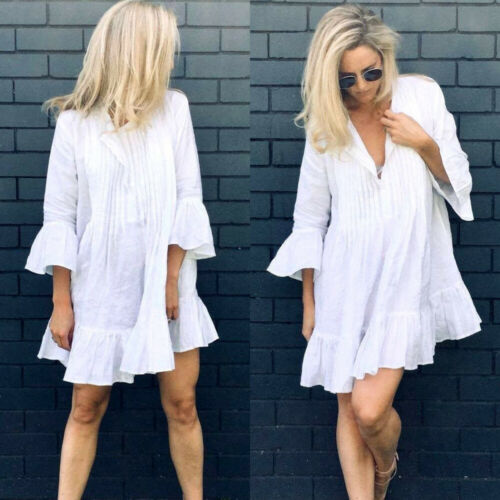 Summer Mini White Dresses Women  Half Sleeve Ruffle V-neck Flare Sleeve Dresses Bohemia Tops  Summer Casual Beach Dresses