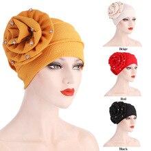 Fashion Women Diamond Flower Turban Caps Pleated Muslim Inner Hijabs Islamic Female Head Wrap Bonnet Ready to Wear Indian Hat