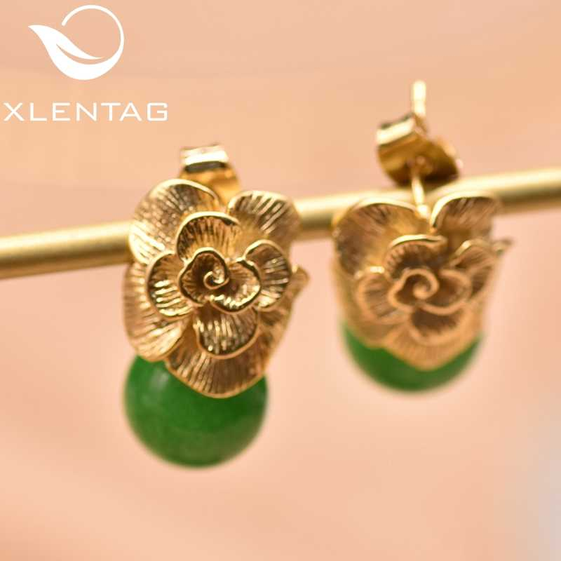 XlentAg 925 Sterling Silver Ear Pin Natural Round Jade Drop Earrings For Women Plant Leaves Engagement Earrings Jewelry GE0336B