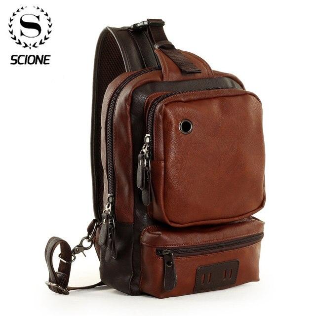 Мужские кожаные рюкзаки Scione, модные уличные деловые повседневные водонепроницаемые сумки через плечо с разъемом для наушников