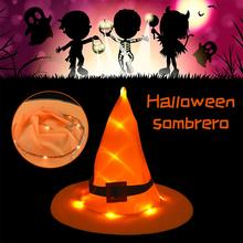 New Halloween Luminous Witch Hat For Adult Kids Women Lady Costume Accessory Cosplay Props Party Decoration
