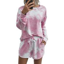 Women Home Wear Long Sleeve Tie-dyed Round Collar Tops+Shorts Set round tie dyed tassels sarong beach throw