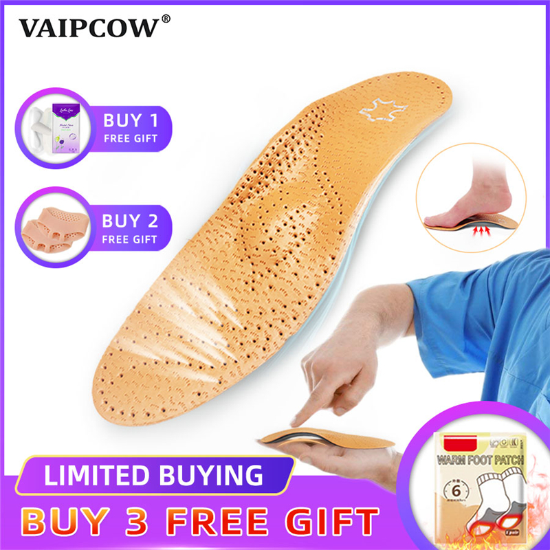 Hot Sales Leather Orthotics Insole For Flat Foot Arch Support 25mm Orthopedic Silicone Insoles For Men And Women Shoe Pad