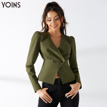 цена на YONIS 2019 Autumn Winter Fashion Women Blazer Crossed Front V-neck Puff Sleeves Short  Slim Coat Jackets Casual Work Bluas Stree