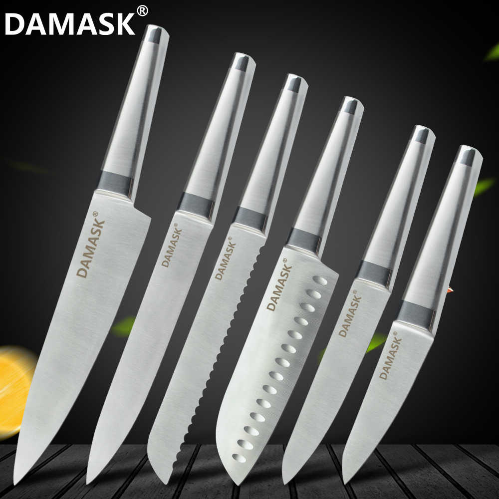 Damask Kitchen Cutlery Knives 5 Inch Stainless Steel Utility Knife Non Stick Seamless Welding Handle Ultra Sharp Knife Accessory