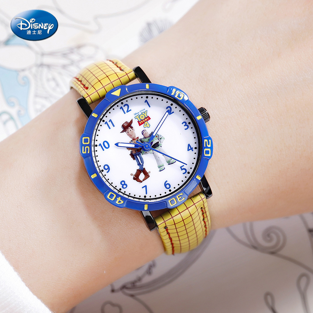Disney Children's Watch Boy Quartz Watch Student Toy Story Cartoon Anime Mickey Kids Watch Water Resistant 3Bar Leather Alloy