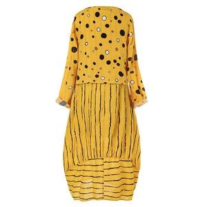 Image 5 - Echoine Women Long Maxi Dress Polka Dot Large Loose Fake Two piece Cotton Linen Dress Autumn Plus Size Sundress Female Clothings