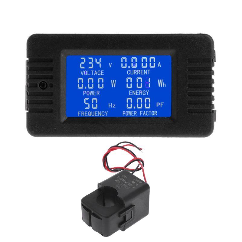 Цифровой измеритель мощности переменного тока 100A 6in1, измеритель напряжения, тока, кВт/ч, ватт, переменный ток 80 ~ 260 В, 110 В, 220 В, с разрезом CT