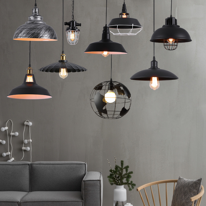 American Retro Industrial Restaurant Living Room Pendant Coffee Shop Milk Tea Shop Bar Iron Lamp Cafe Creative Light Fixtures