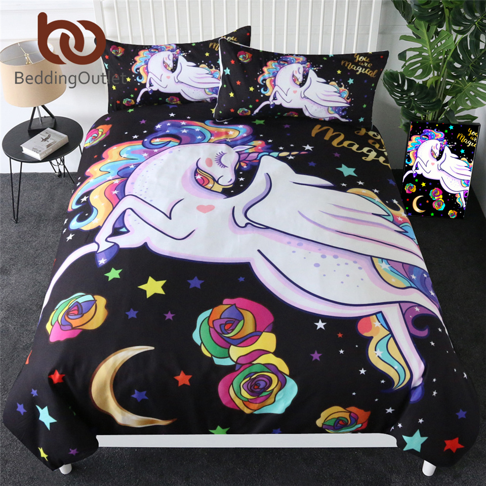 BeddingOutlet Lovely Unicorn Bedding Set Colorful Cartoon Duvet Cover for Kids Moon Star Home Textiles Magical Girls Bedspreads|Bedding Sets|   - title=