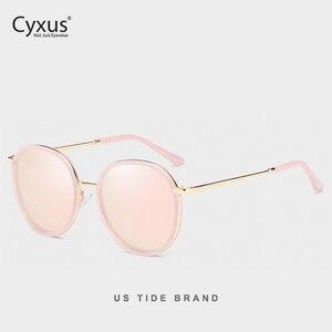 Image 3 - Cyxus Retro Ronde Gepolariseerde Zonnebril Voor Vrouwen Uv 400 Mirrored Brillen 1001