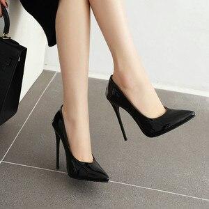 Image 5 - חדש 2020 אופנה דק עקבים גבוהים משאבות נעלי אישה ירוק אדום צהוב נשים של עקבים נעלי מפלגה נעלי חתונת משרד גדול גודל 45