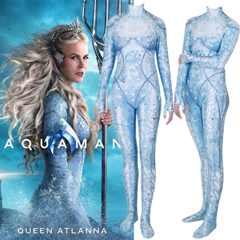 Women Kids Aquaman Queen Atlanna Cosplay Costume Zentai Bodysuit Suit Jumpsuits
