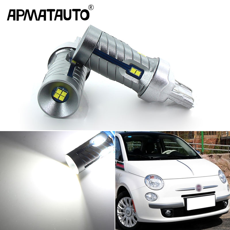 2pcs White 6000k W21/5W LED CANBUS No Error 7443 T20 W21 5W LED Bulb For 2009-2016 Fiat 500 Led Day DRL Daytime Running Lights