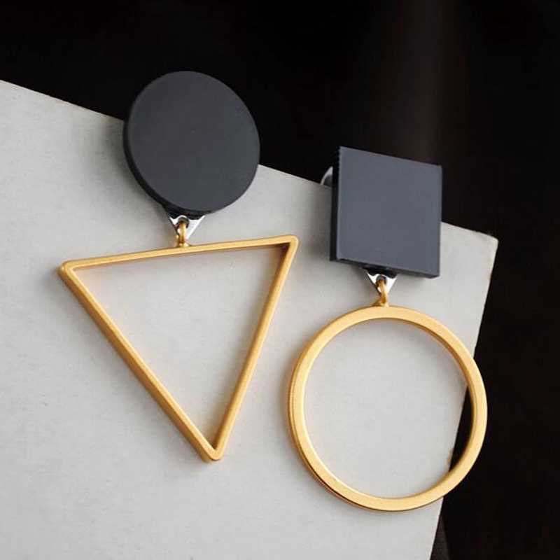 Punk Fashion Triangle Round Geometric Asymmetric Metal Black Dangle Earrings Women Party Jewelry Personality Earrings