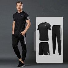 3 шт./компл. хлопковая футболка с коротким рукавом, одежда для Для мужчин костюмы для бега футболки+ Спортивные шорты+ спортивные штаны Для мужчин s спортивной костюм футбол игровой гимнастический комплект