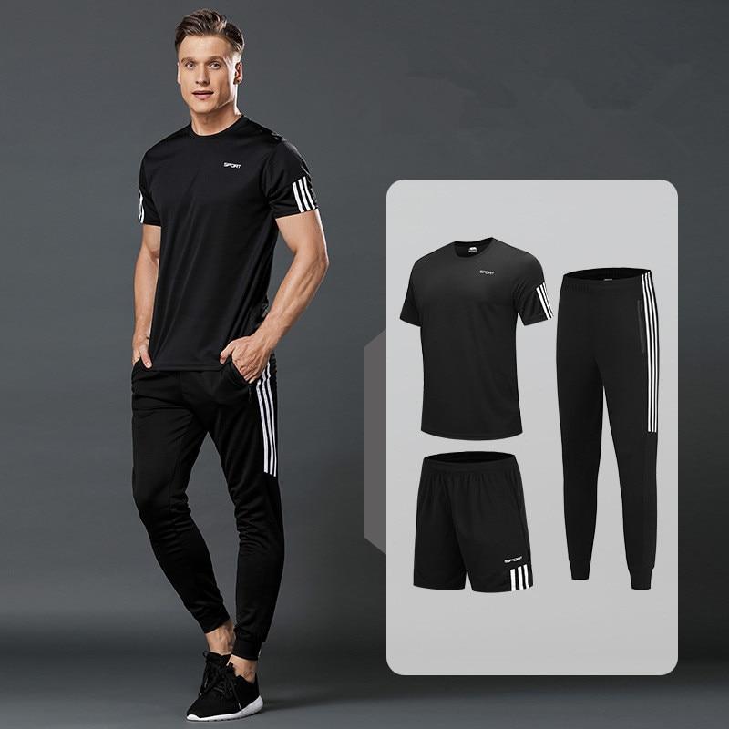 3 Pcs/Sets Sports T-Shirt Men's Suits Running Shrits+Sports Shorts+Jogging Pants Mens Sportswear Suit Soccer Play Gym Sets New