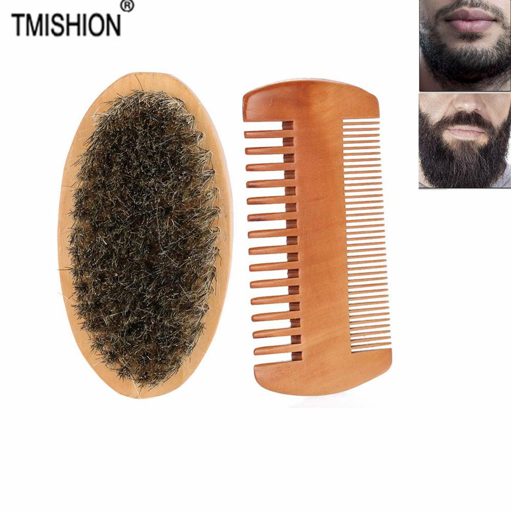Wood Mustache Oval Men Beard Barba Brush and Comb Facial Beard Shaving Cleaning Grooming Shaving Brush Kit Beard Hair Brush Set(China)
